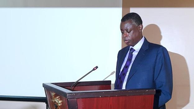 Defense Minister Gen James Kabarebe speaking at the bilateral talks in Kigali