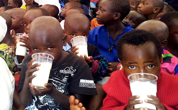 Children taking milk during a sensitisation campaign aimed at improving proper feeding in families. A national survey indicated that 48% of children under five are malnourished