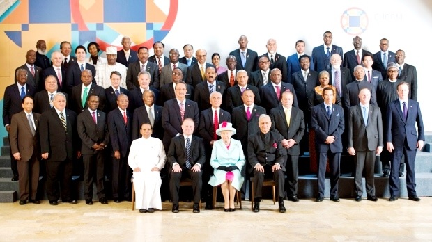 The Queen of England in a group photo with heads of states that are members of the commonwealth community