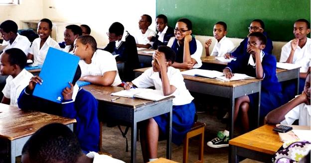 Students in class. A massive school feeding program begins in February 2016