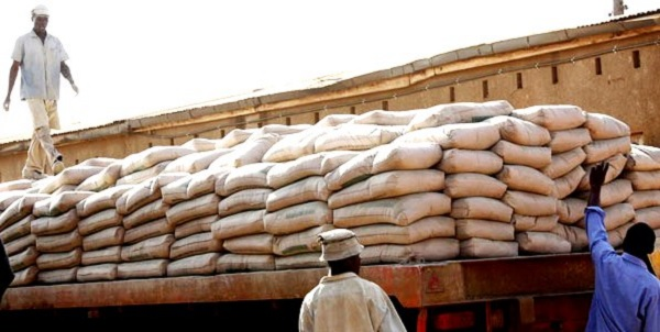 Uganda Cement bags being loaded on a truck destined to Rwanda