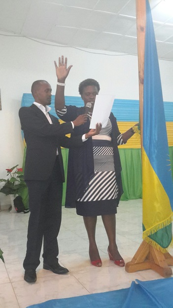 At least thirty percent (30%) of all the councilors of the members of the District Council must be women, but some women are tough they are mayors or vice mayors such as Umutesi Solange of Huye in this photo.