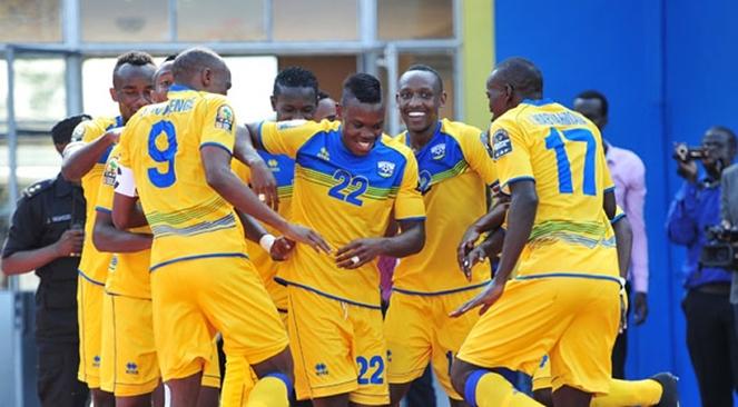 Rwanda's national team Amavubi celebrate after scoring