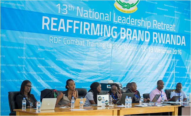 Participants following proceedings at the 13th National Leadership Retreat in Gabiro