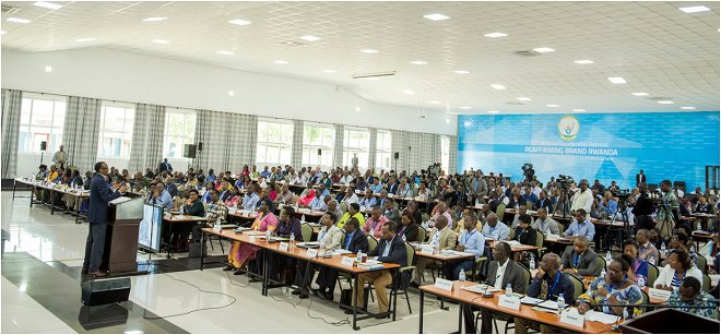 President Kagame addressing the audience at the 13th National Leadership Retreat in Gabiro