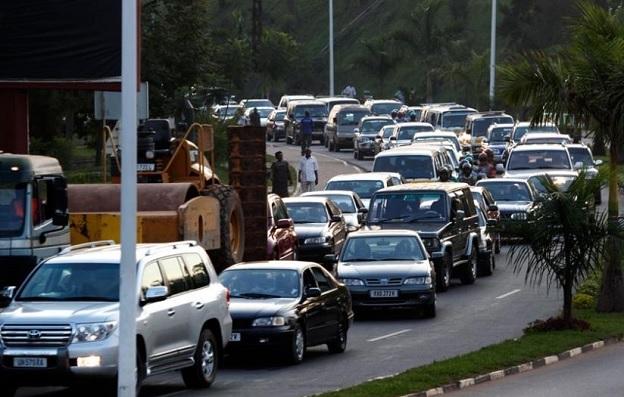 Traffic during peak hours in Kigali