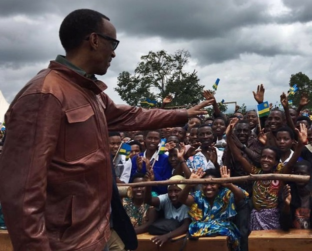 President Paul Kagame waves to the crowd in Ngoma district