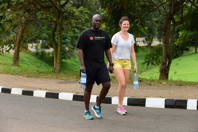 City residents turned up in sports wear and accessories to enjoy a walk on the smooth tarmac
