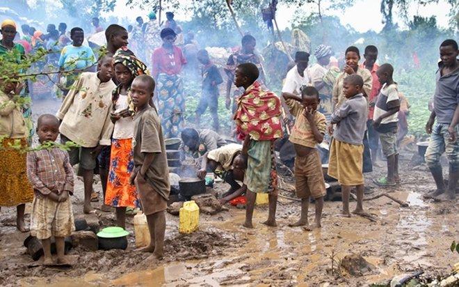Burundian refugees on arrival in Rwanda Gashora refugee camp in the Bugesera