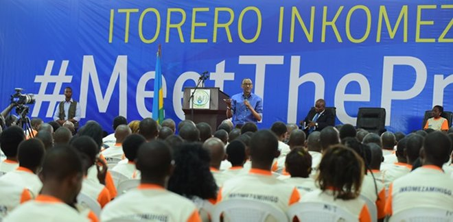 Youth attentively listening to president Kagame at petit Stade