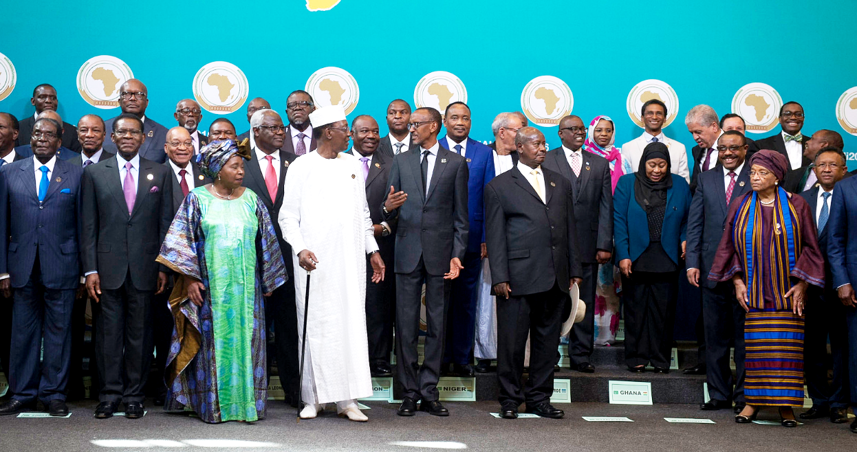African Heads of state in a group photo at the 27th AU-Summit in Kigali