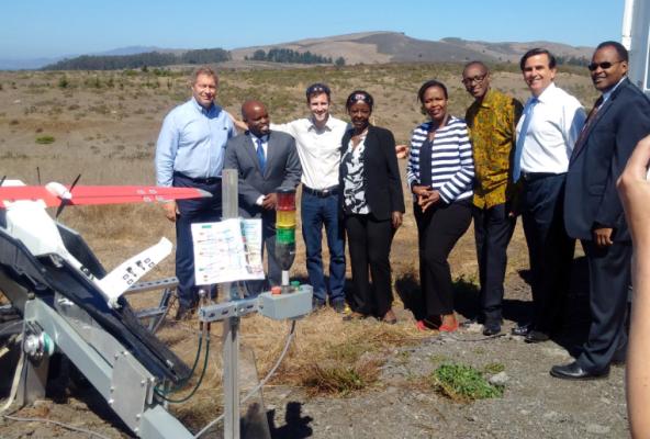 Rwandan delegation at Zipline drone facility in California