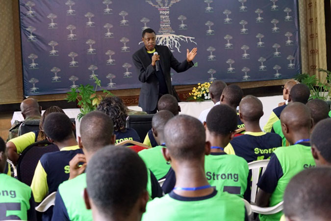 Rwanda's Minister of Defence Gen. Kabarebe speaking to hundreds of the country's youth