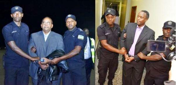 Jean Baptiste Mugimba(L)and Jean Claude Iyamuremye(R) upon arrival at KIA