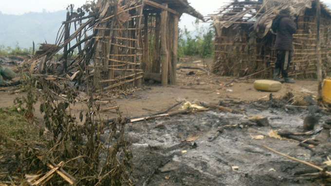 Trail of destruction and suffering that Congolese villagers have to live through under the FDLR. This village in eastern DRC was set ablaze by the militia accusing the locals of giving information to government forces