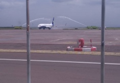 Kinshasa Welcomes Rwandair with Water Salute