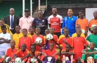Arsenal Legend Lauren Holds Training Clinic with 60 Rwandan Children