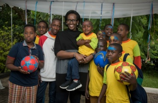 Memorable Day as Children Play, Cut Cake with Jeannette Kagame