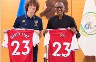 Arsenal's David Luiz Meets President Kagame