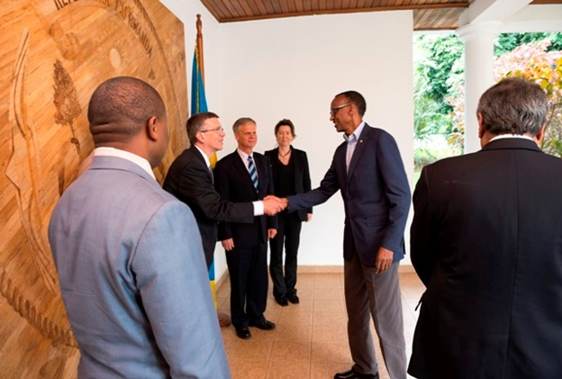 President Paul Kagame meeting Carnegie Mellon University delegation at his office in the Capital Kigali