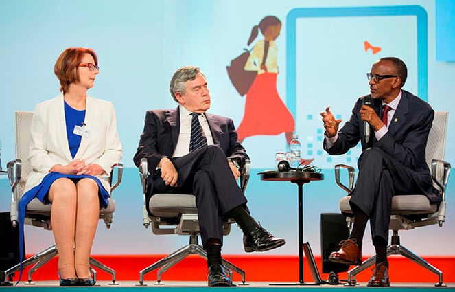 President Paul Kagame (Right) making a point during a discussion at the official launch of the Oslo Summit on Education for Development, in Norway.