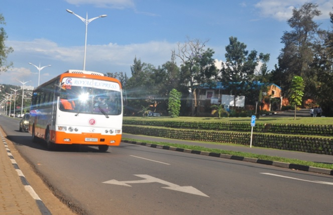 A passenger bus on one of the roads in Kigali city. The city has organized transport