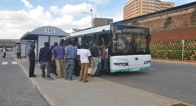 One of the Smart buses at a terminal in Kigali. Most of them are fitted with WiFi internet