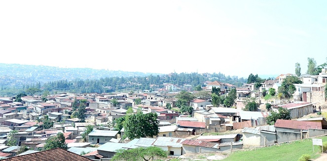 A section of low cost housing common in most Kigali city suburbs.