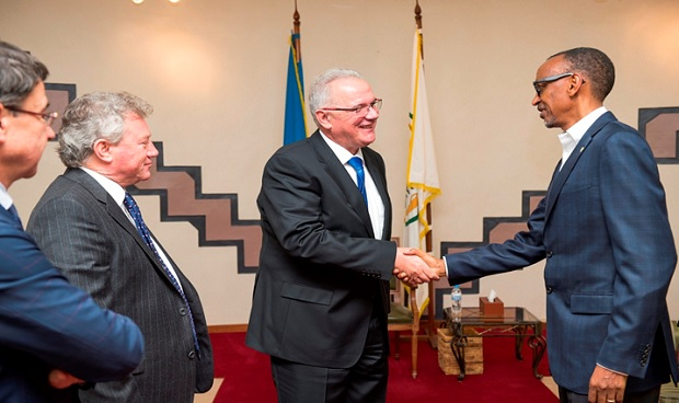 Neven Mimic, the EU Commissioner for International Cooperation and Development meets President Paul Kagame at Village Urugwiro
