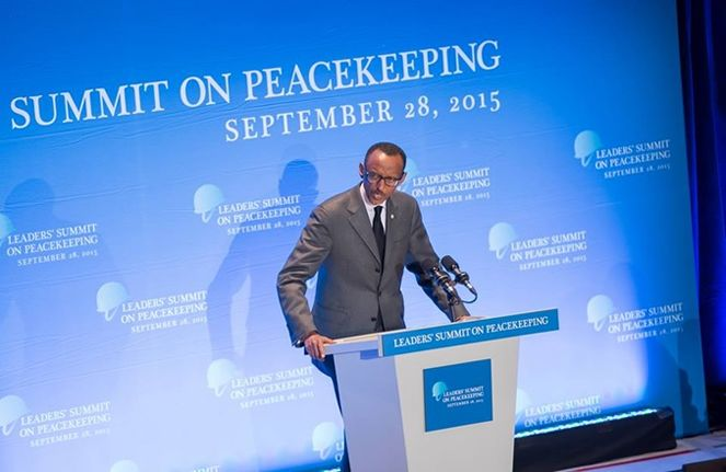 President Paul Kagame addressing the Leaders Summit on Peace Operations in US
