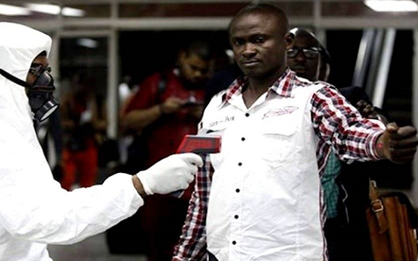 A passenger screened for Ebola upon arrival at the airport