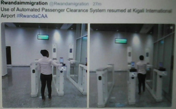 A passenger checking in using the automated clearance facility at Kigali International airport.