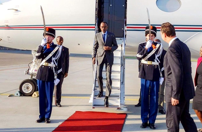 President Kagame on arrival in Amsterdam to attend Rwanda Day