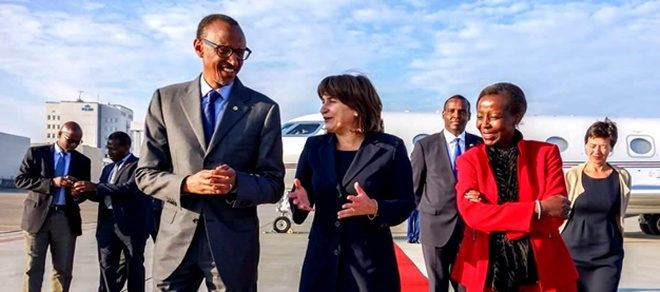 President Paul Kagame on arrival in the Netherlands capital Amsterdam.