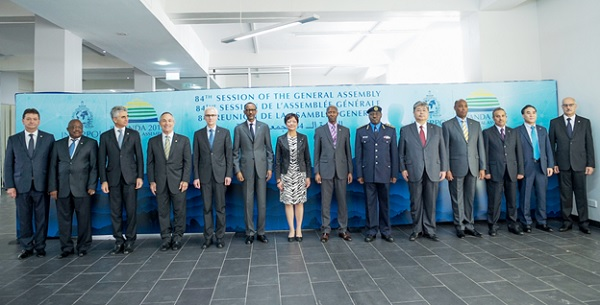 President Paul Kagame in a group photo at the 84th General Assembly of Interpol- Kigali, 2 November 2015