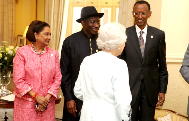Queen Elizabeth II shares a light moment with President Kagame