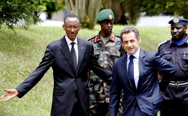 President Paul Kagame and former French President Nicholas Sarkozy