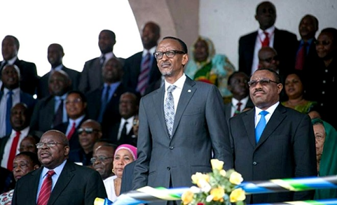 President Paul Kagame at the swearing-in ceremony of Tanzania's new president John Magufuli
