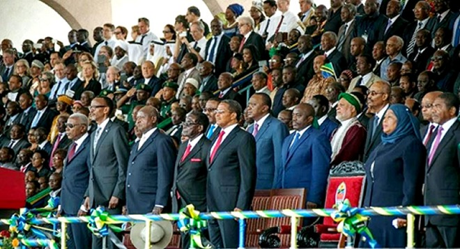 Zimbabwe President RObert Mugabe, Yoweri museveni of Uganda, Joseph Kabila of DRC,Uhuru Kenyatta of Kenya, Jacob Zuma of South Africa, Ethiopios Hailemariam Desalegn also attended the ceremony