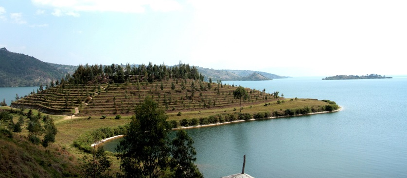 Trees have been planted on hills surrounding lakes and rain is regular
