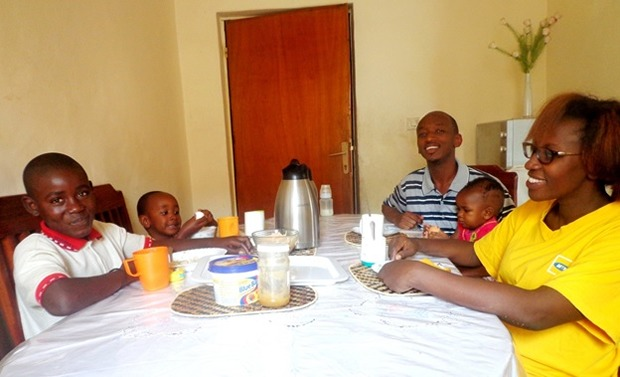 Thierry Ntwari (left) was received in the family of Regis Rwirangira for the week of festive season