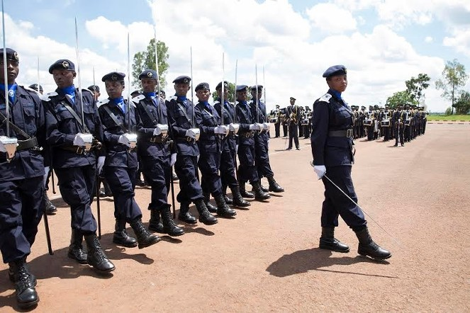 Police officers at a pass-out event in Rwanda which has been having some 160 officers in Haiti including 22 women
