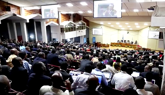 A fully packed parliament during the national dialogue