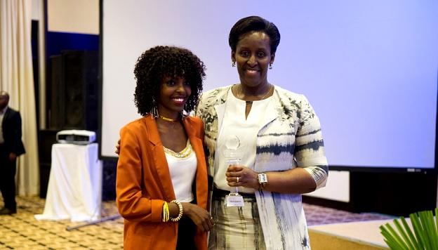 The First Lady Mrs Jeannette Kagame (r) at the recent YouthConnekt Champions and Young Rwandan Achievers award ceremony