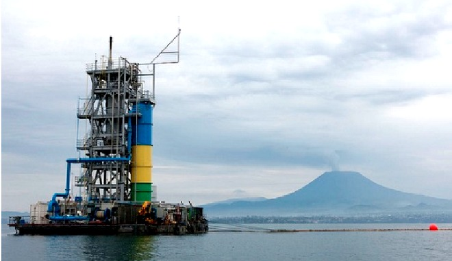 A Methane gas extraction rig on Rwanda's Lake Kivu