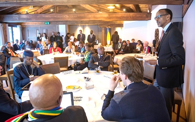 President Kagame addressing African Regional Business Council Meeting  at Davos, 22 January 2016