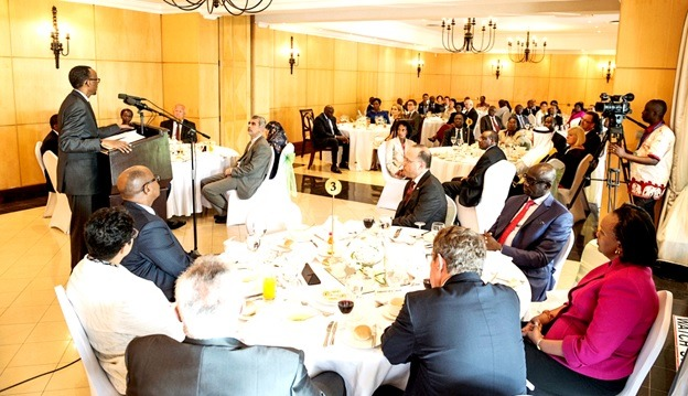 President Paul Kagame addresses diplomats in Rwanda during a luncheon
