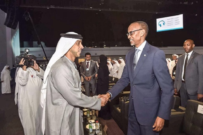 President Kagame (R) in Dubai attending World Government Summit