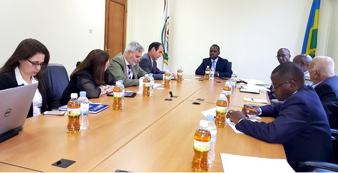 Rwanda's State Minister for Agriculture, Tony Nsanganira in discussions with Israel investors