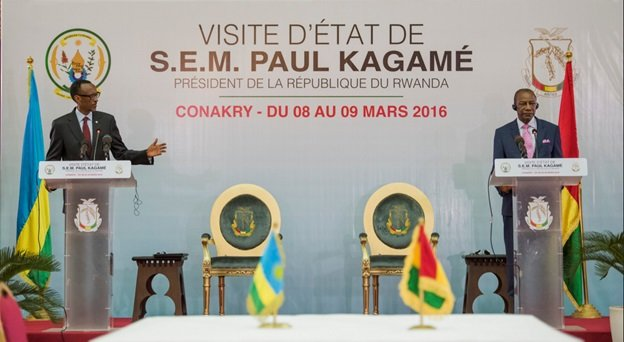 President Kagame and President Alpha Condé of Guinea Conakry hold a joint press conference | Conakry, 9 March 2016